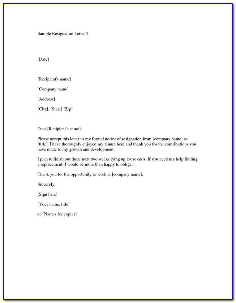 Resignation Letter Format Sample Pdf