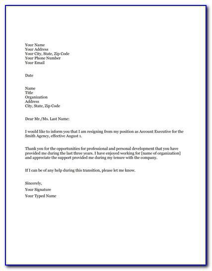 Resignation Letter Samples Free Pdf