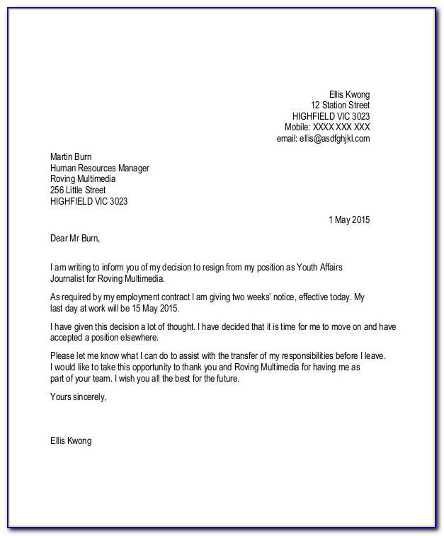 Resignation Letter Template 1 Month Notice Download