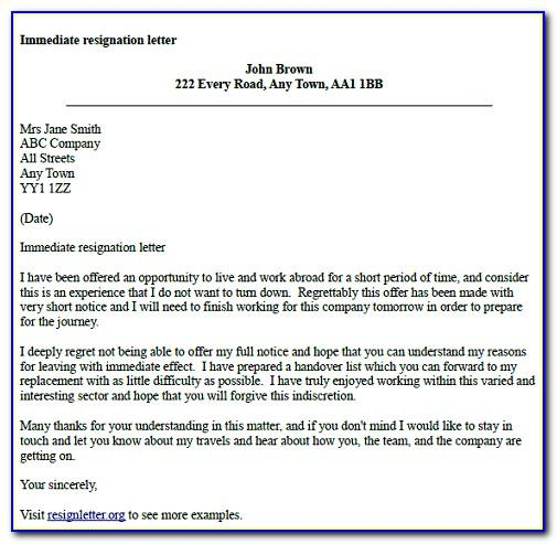 Resignation Letter Template 1 Month Notice Retirement