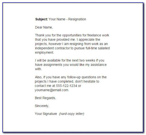 Resignation Letter Template 1 Month Notice Uk