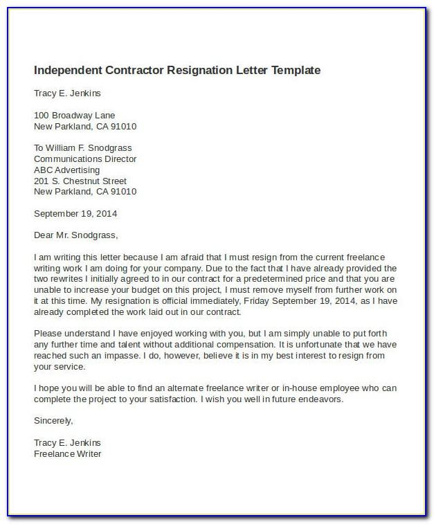 Resignation Letter Template 1 Month Notice Word Format