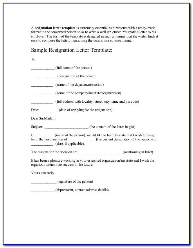 Resignation Letter Template 1 Month Notice Word