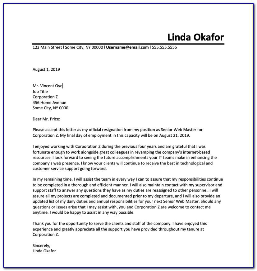 Resignation Letter Template Free Uk