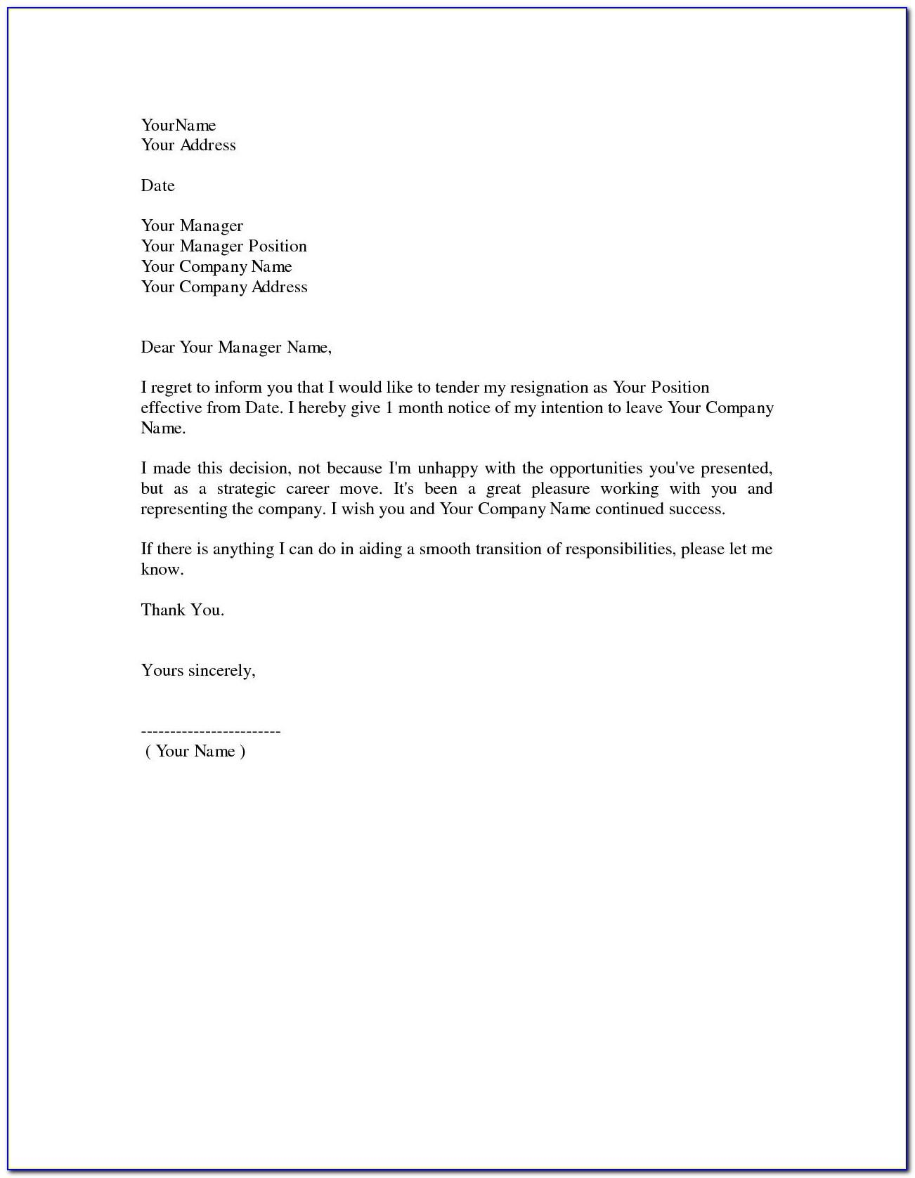 Resignation Letter Template Free Word