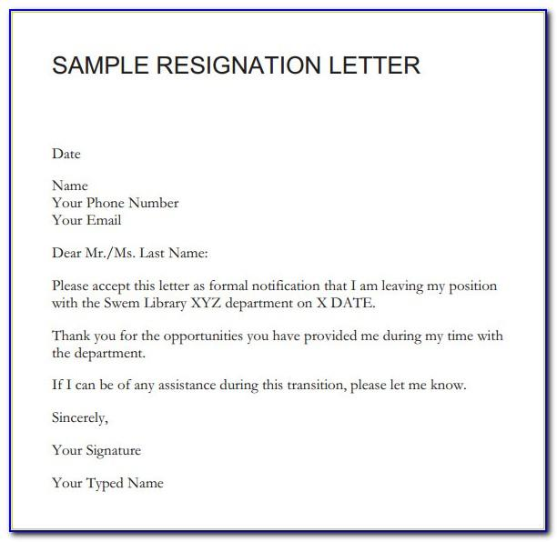 Resignation Letter Template Singapore Download