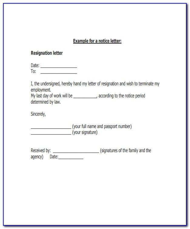 Resignation Letter Template Uk Doc