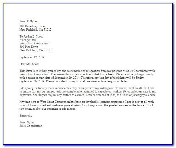Resignation Letter Template Uk Download