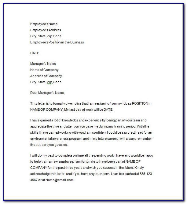 Resignation Letter Template Uk Immediate Effect