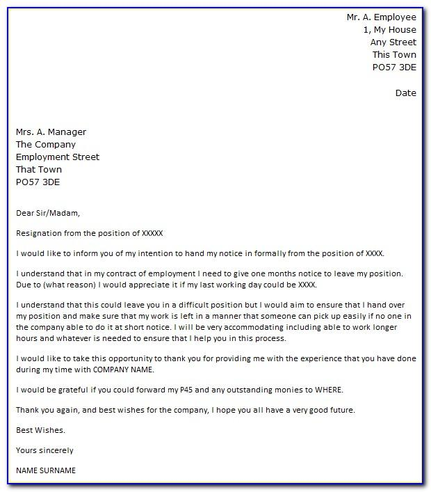 Resignation Letter Template Uk Nhs