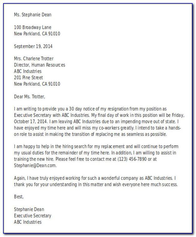 Resignation Letter Template Uk Nurse