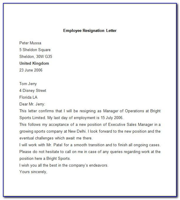 Resignation Letter Word Format Free Download