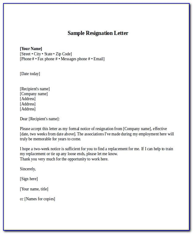 Resignation Letters Two Weeks Notice