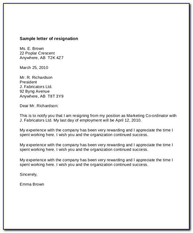 Resignation Sample Letter Personal Reasons