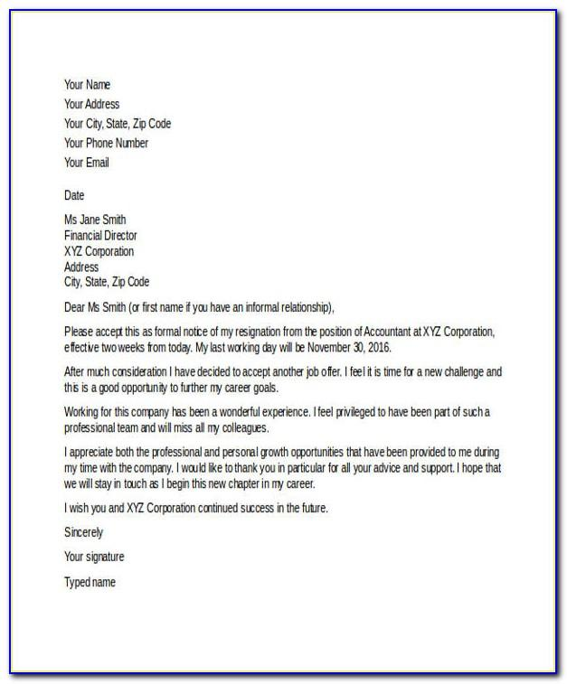 Resignation Template Letters Uk