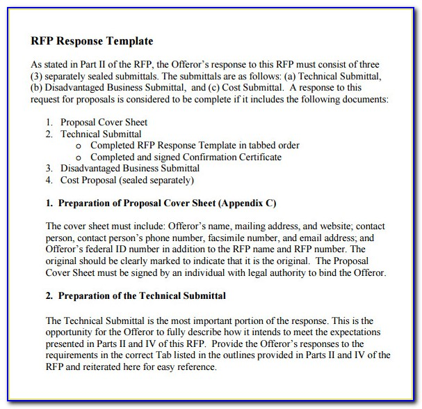 Response To Rfp Cover Letter Sample