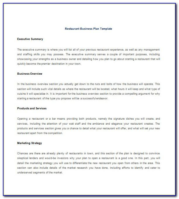 Restaurant Business Plan Template Word Free