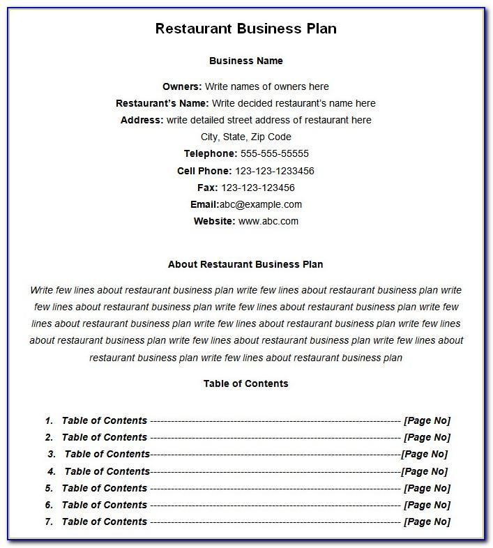Restaurant Business Proposal Template Pdf