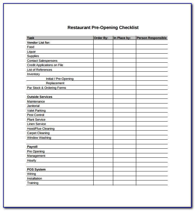Restaurant Cleaning Checklist Form