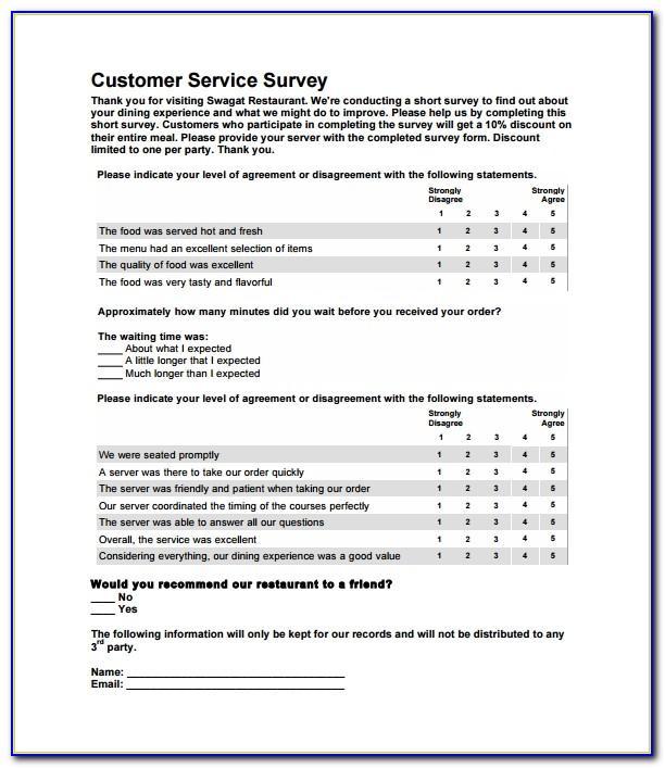 Restaurant Customer Satisfaction Survey Examples