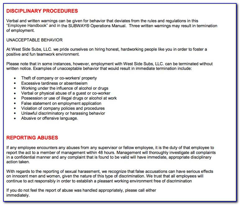 Restaurant Employee Handbook Examples
