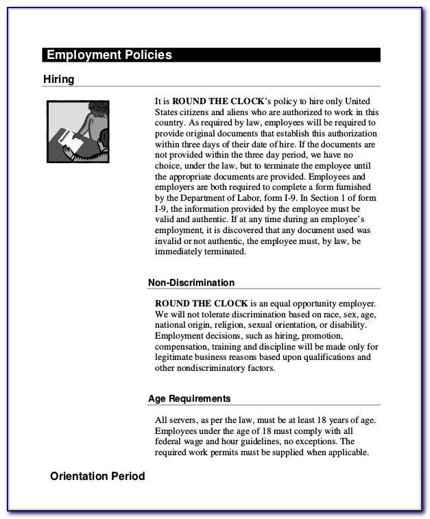 Restaurant Employee Handbook Sample