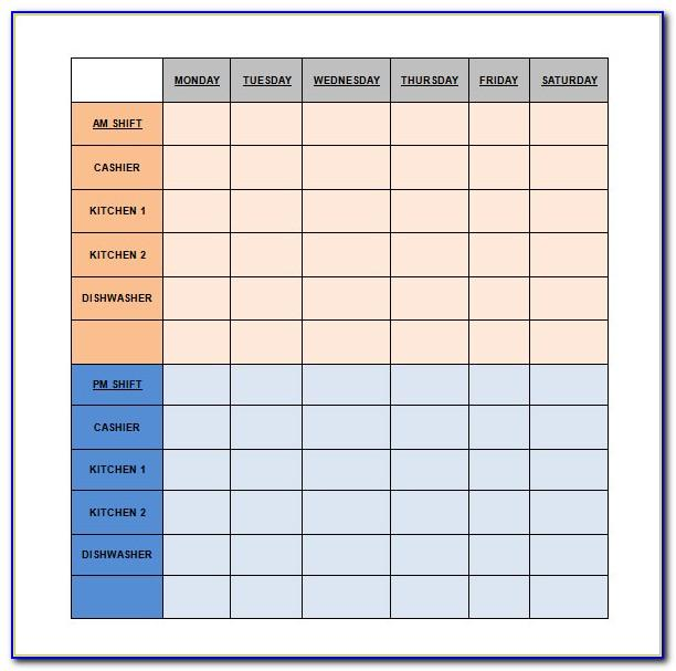 Restaurant Employee Shift Schedule Template
