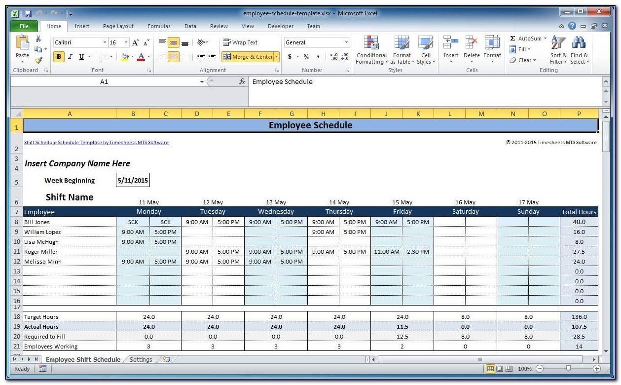 Restaurant Employee Weekly Schedule Template