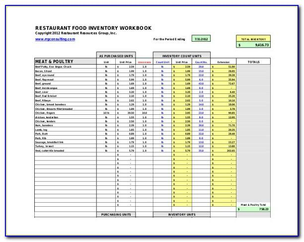 Restaurant Equipment Inventory List Template