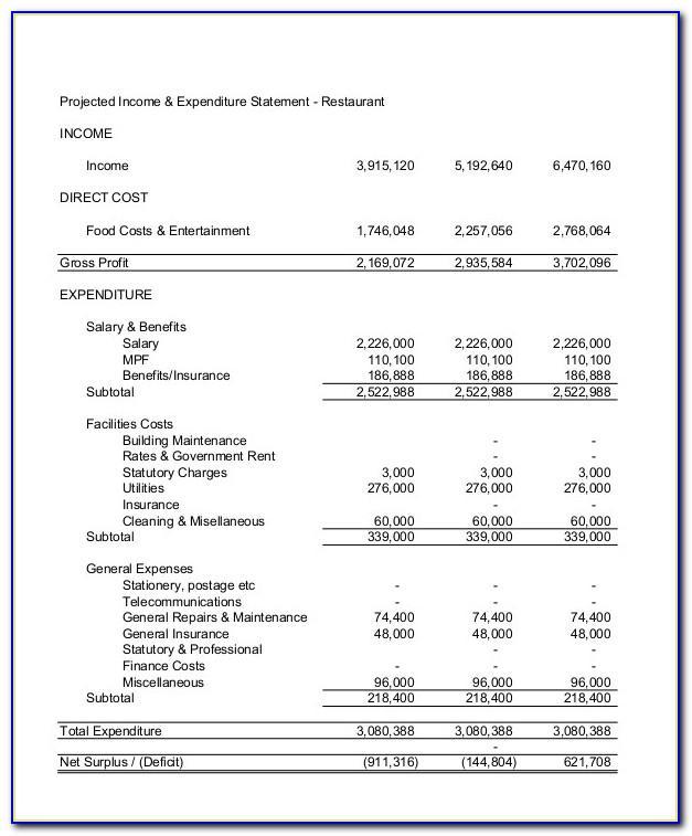 Restaurant Financial Statement Example