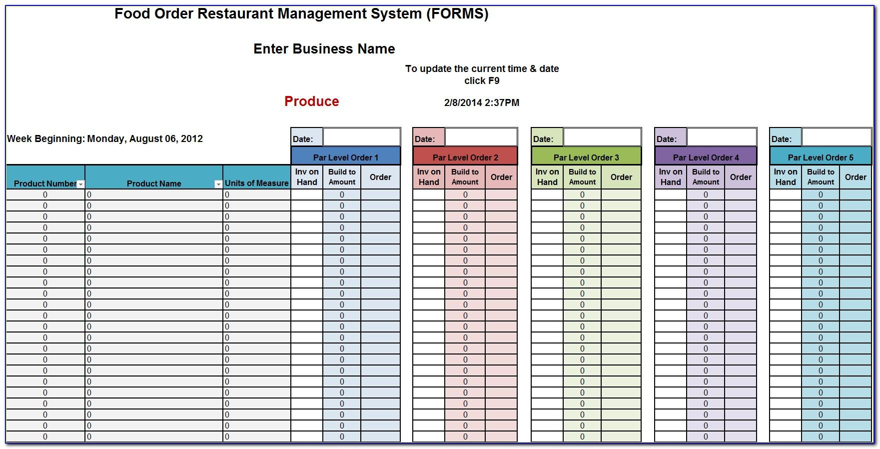 Restaurant Food Inventory List Template