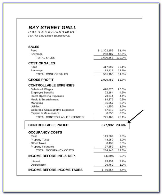 Restaurant Income Statement Xls
