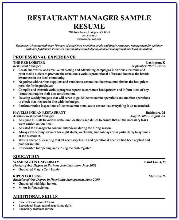 Restaurant Manager Resume Sample Free