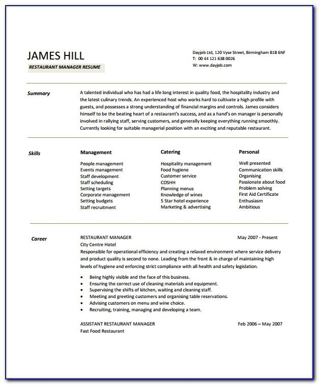 Restaurant Manager Resume Template Microsoft Word