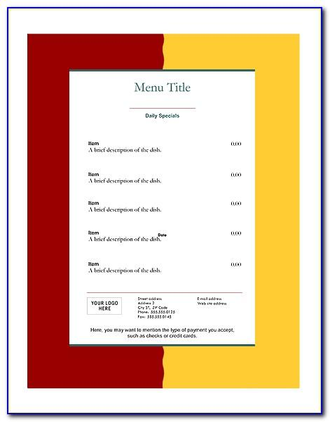 Restaurant Menu Design Templates Word