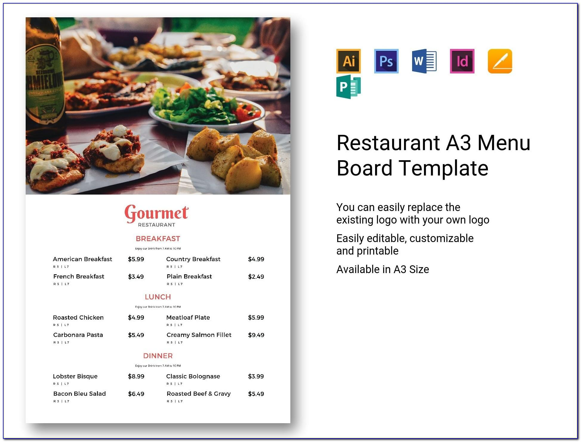 Restaurant Menu Template Free Download Psd