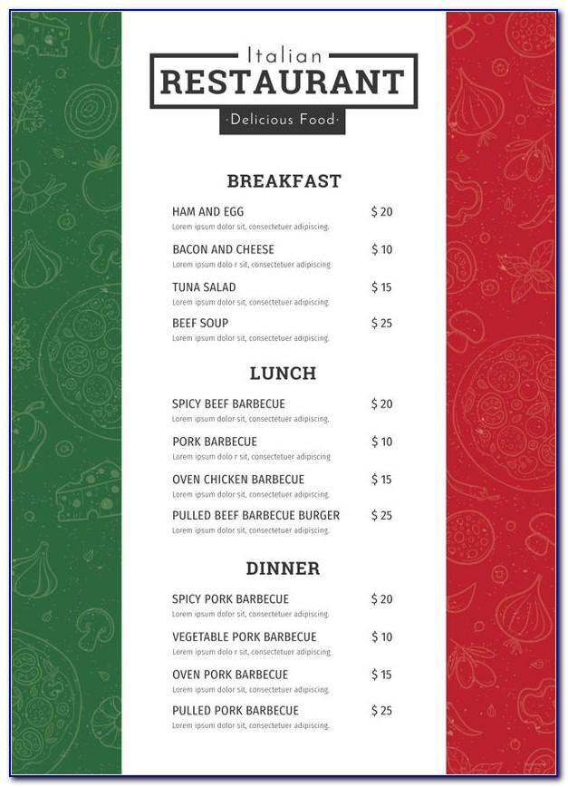 Restaurant Menu Templates For Microsoft Publisher