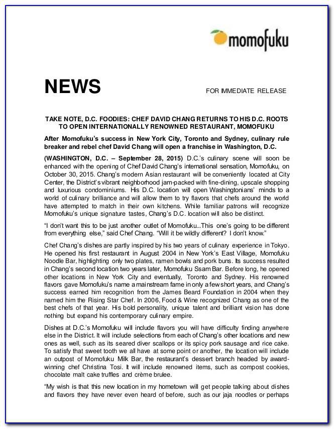 Restaurant Opening Press Release Sample
