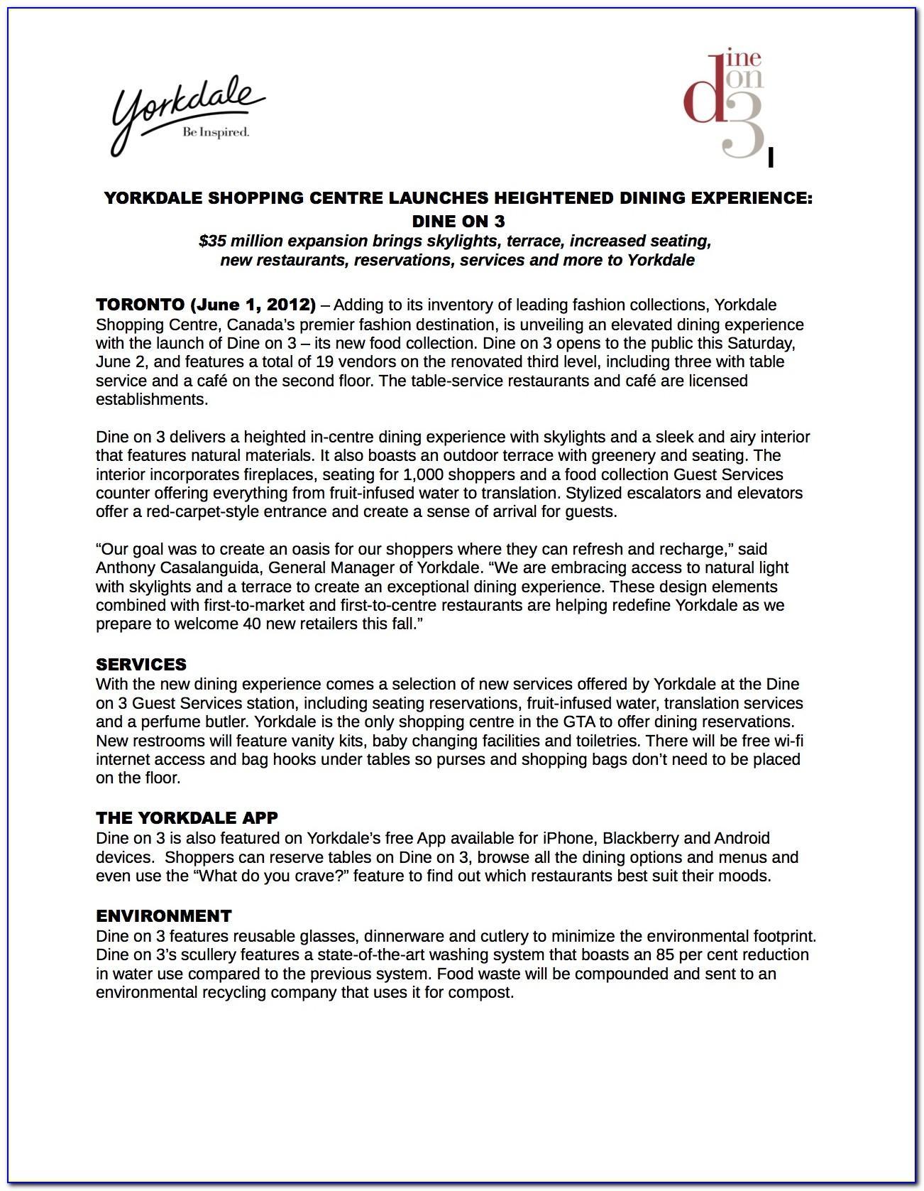 Restaurant Press Release Sample