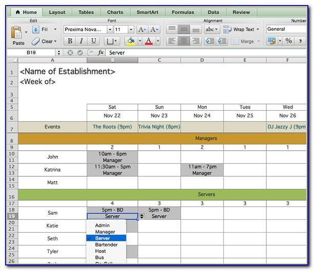 Restaurant Shift Schedule Template Free