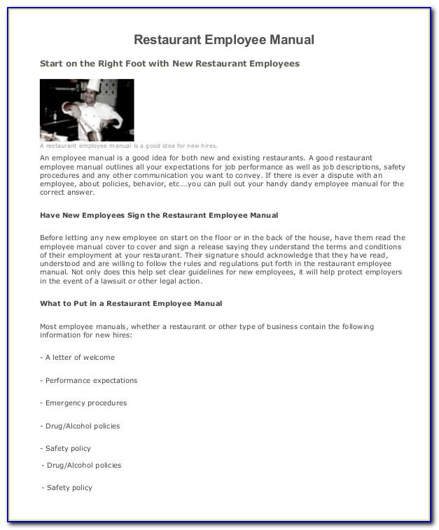 Restaurant Staff Handbook Template