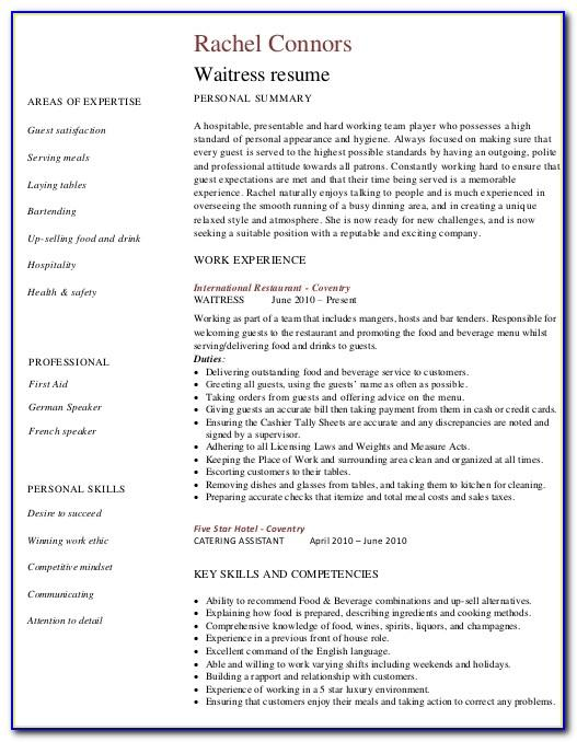Restaurant Waiter Resume Template