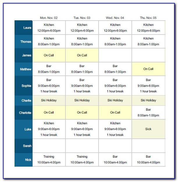 Restaurant Work Schedule Form