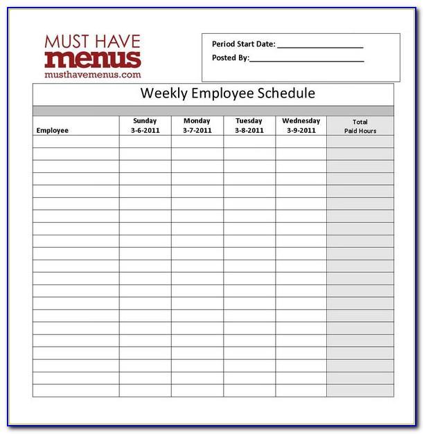 Restaurant Work Schedule Template Free