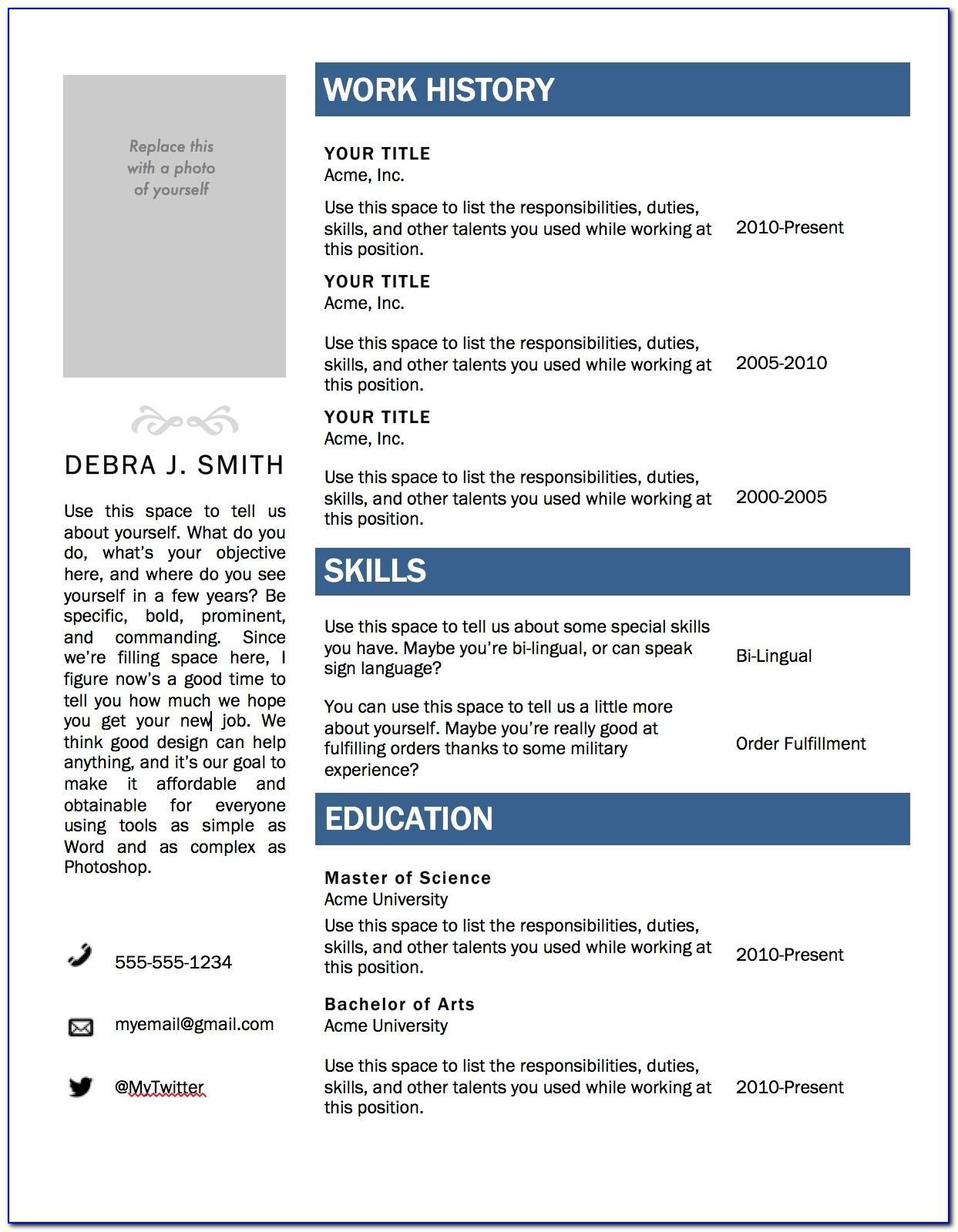 Resume Builder Template Free Microsoft Word