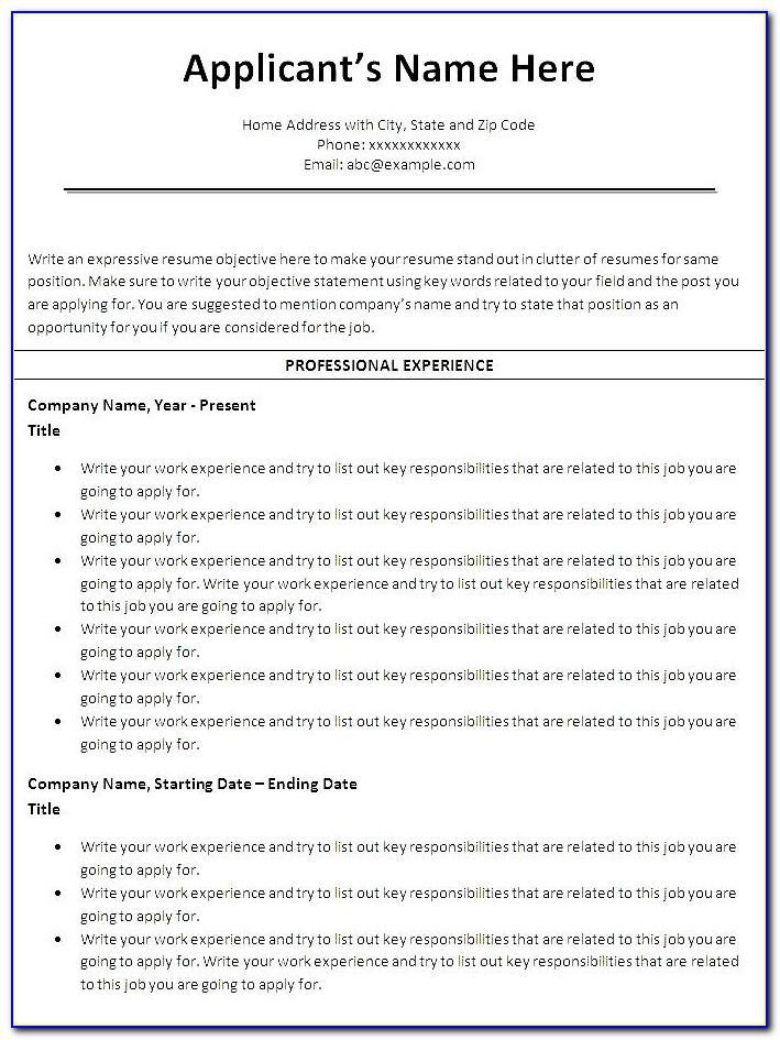 Resume Builder Template Free