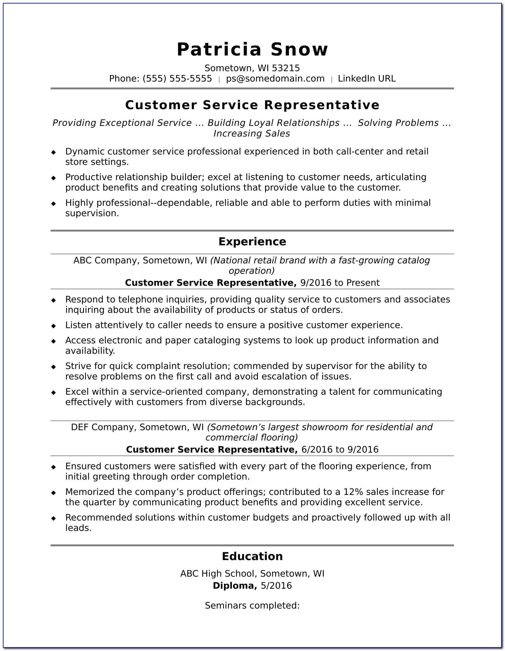 Resume Example For Customer Service Representative