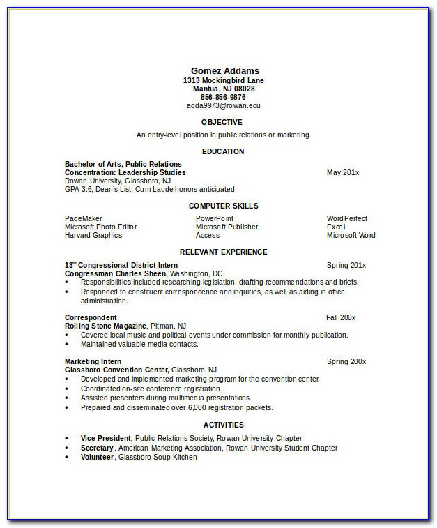 Resume Example For Engineering Student