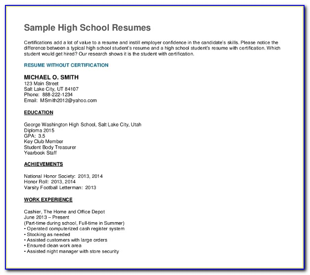 Resume Example For High School Graduate