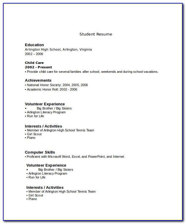 Resume Example For High School Senior